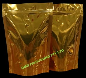 250g Stand Up Pouch Coffee Bags with Valve and Zip - Solid Gold/Copper