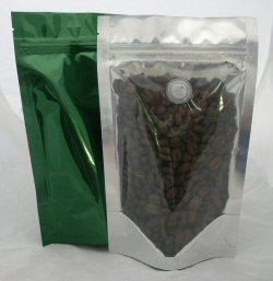 100g Stand Up Pouch Coffee Bags with Valve and Zip - Clear / Green