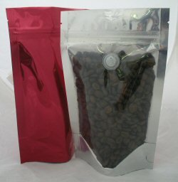 150g Stand Up Pouch Coffee Bags with Valve and Zip - Clear/Red