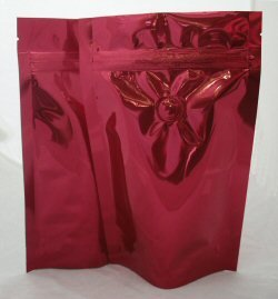 150g Stand Up Pouch Coffee Bags with Valve and Zip - Solid Red