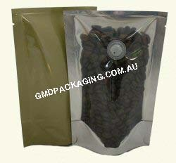 70g Stand Up Pouch Coffee Bags with Valve - Clear/Gold