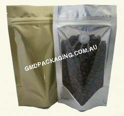 150g Stand Up Pouch Coffee Bags with Valve and Zip - Clear/Gold