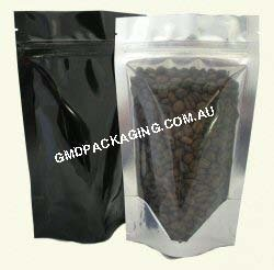 150g Stand Up Pouch with Zip - Clear/Black