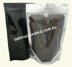 250g Stand Up Pouch Coffee Bags with Valve and Zip - Clear/Black