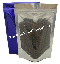 250g Stand Up Pouch Coffee Bags with Valve and Zip - Clear/Blue