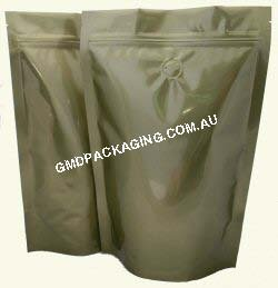 250g Stand Up Pouch Coffee Bags with Valve and Zip - Solid Gold