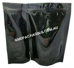 250g Stand Up Pouch Coffee Bags with Valve and Zip - Solid Black
