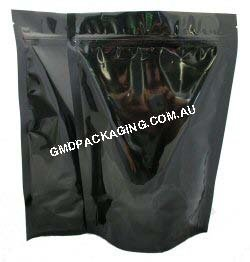 250g Stand Up Pouch with Zip - Solid Black