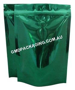 250g Stand Up Pouch Coffee Bags with Valve and Zip - Solid Green