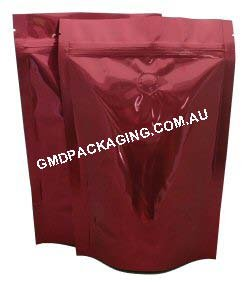 250g Stand Up Pouch Coffee Bags with Valve and Zip - Solid Red