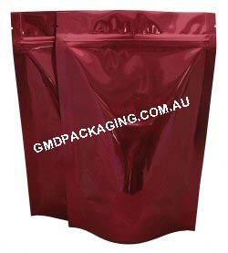 250g Stand Up Pouch with Zip - Solid Red