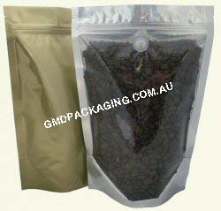 500g Stand Up Pouch Coffee Bags with Valve and Zip - Clear/Gold