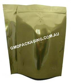 1Kg Stand Up Pouch Coffee Bags with Valve and Zip - Solid Gold