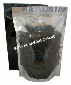 1Kg Stand Up Pouch Coffee Bags with Valve and Zip - Clear/Black