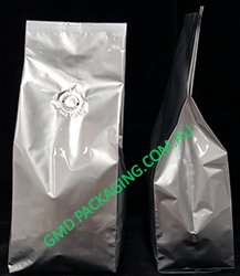 250g Side Gusset Coffee Bags with Valve - Silver (Foil)