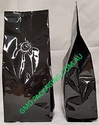 250g Side Gusset Coffee Bags with Valve - Black