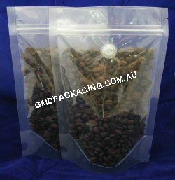 250g Stand Up Pouch Coffee Bags with Valve and Zip - All Clear