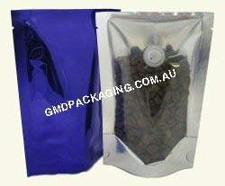 70g Stand Up Pouch Coffee Bags with Valve - Clear/Blue