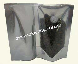 70g Stand Up Pouch Coffee Bags with Valve - Clear/Silver