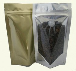 100g Stand Up Pouch Coffee Bags with Valve and Zip - Clear/Gold