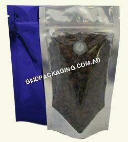 100g Stand Up Pouch Coffee Bags with Valve and Zip - Clear/Blue