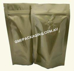 100g Stand Up Pouch Coffee Bags with Valve and Zip - Solid Gold