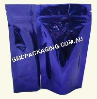 100g Stand Up Pouch Coffee Bags with Valve and Zip - Solid Blue