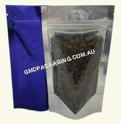 150g Stand Up Pouch with Zip - Clear/Blue