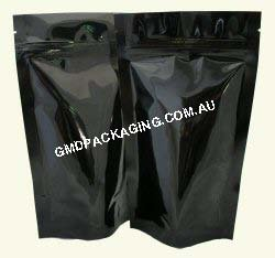 150g Stand Up Pouch with Zip - Solid Black