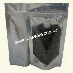 150g Stand Up Pouch Coffee Bags with Valve and Zip - Clear/Silver