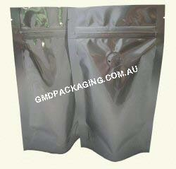 150g Stand Up Pouch Coffee Bags with Valve and Zip - Solid Silver (Foil)