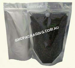 500g Stand Up Pouch Coffee Bags with Valve and Zip - Clear/Silver