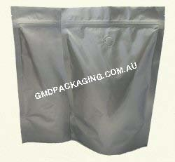 500g Stand Up Pouch Coffee Bags with Valve and Zip - Solid Silver (Foil)