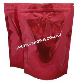 1Kg Stand Up Pouch Coffee Bags with Valve and Zip - Solid Red