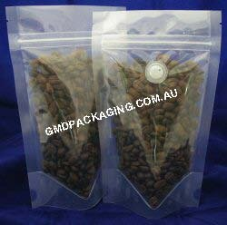 100g Stand Up Pouch Coffee Bags with Valve and Zip - All Clear