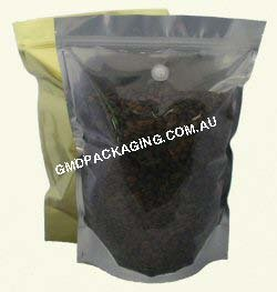 1Kg Stand Up Pouch Coffee Bags with Valve and Zip - Clear/Gold