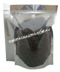 1Kg Stand Up Pouch Coffee Bags with Valve and Zip - Clear/Silver