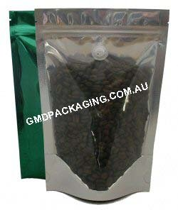 500g Stand Up Pouch Coffee Bags with Valve and Zip - Clear/Green