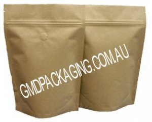 250g Stand Up Pouch Coffee Bags with Valve and Zip - All Kraft Paper