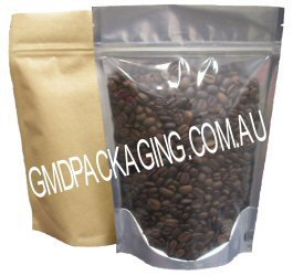 250g Stand Up Pouch with Zip - Clear / Kraft Paper