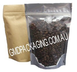 250g Stand Up Pouch Coffee Bags with Valve and Zip - Clear / Kraft Paper