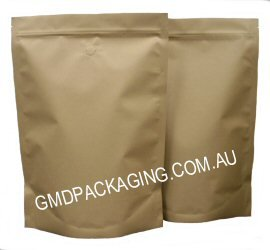 1Kg Stand Up Pouch Coffee Bags with Valve and Zip - All Kraft Paper