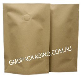 70g Stand Up Pouch Coffee Bags with Valve - All Natural Kraft Paper