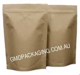 500g Stand Up Pouch Coffee Bags with Valve and Zip - All Kraft Paper