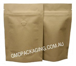 70g Stand Up Pouch Coffee Bags with Valve and Zip - All Kraft Paper