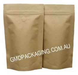 100g Stand Up Pouch Coffee Bags with Valve and Zip - All Kraft Paper
