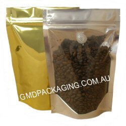 250g Stand Up Pouch Coffee Bags with Valve and Zip - Clear/Bright Gold