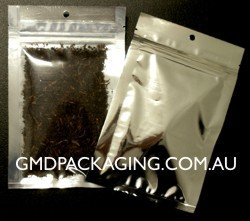 50g 3-Side Seam Bags with Zip - Clear/Silver