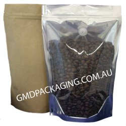 1Kg Stand Up Pouch Coffee Bags with Valve and Zip - Clear / Kraft Paper
