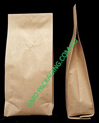 250g Side Gusset Coffee Bags with Valve (Quad Seal) - Kraft Paper